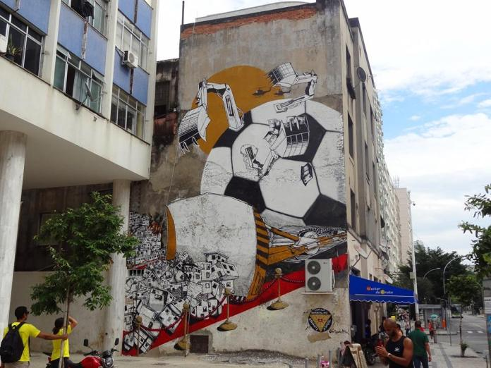 Street Art FIFA World Cup in Rio de Janeiro, Brazil, - From Anti-Copa Mural Project organized by Colorrevolution e.V. and Amnesty International Brazil. By B.Shanti:A.Signl  in Rio de Jainero, Brazil.jpg