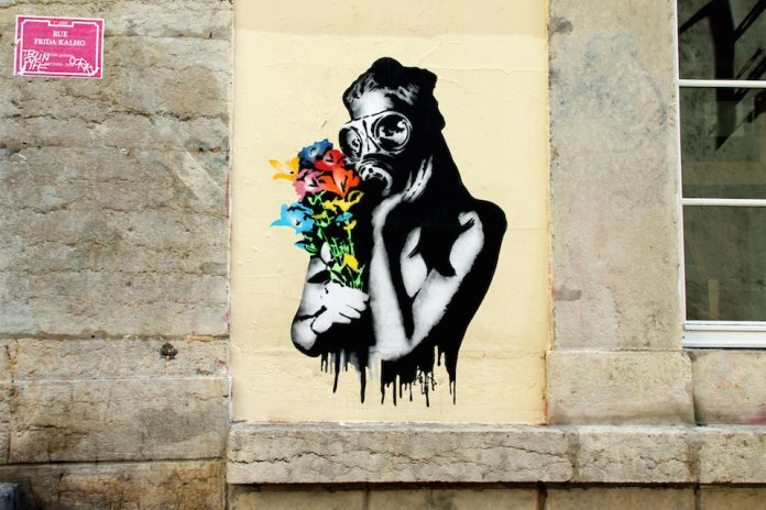 Street Art by Goin in Lyon, France -Fukushima Flowers