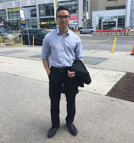 Victor is all business in downtown Toronto