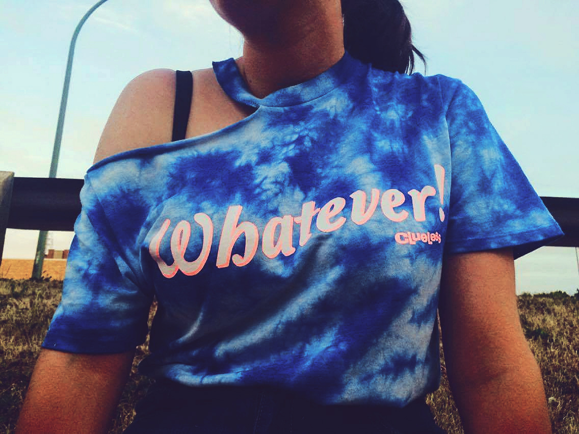 Whatever shift on blue tie dye patterm t shirt Medicine Hat Alberta