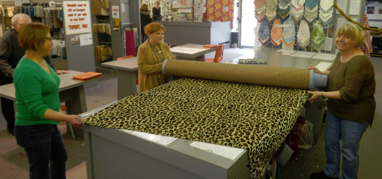 buying leopard print velour at Designer fabrics in Toronto