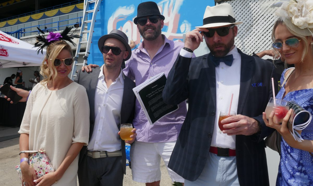 Streetchic, very stylish, high fashion group of horseracing fans at 2018 Greenwood Stakes