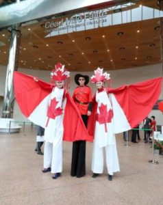 Canada theme stilt walkers
