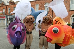 Maritime themed entertainers, diver costumes, fish costumes