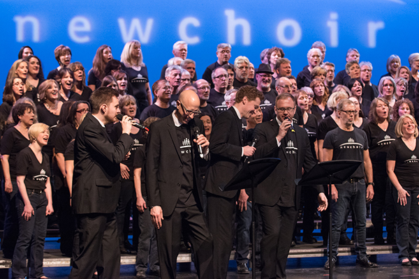 Cadence and newchoir on stage at St. Mike's.