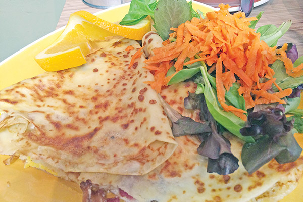 HOLD THE HOLLANDAISE: Eggs Benedict crepe made with Bechamel is featured at Crepe Studio Bistro.