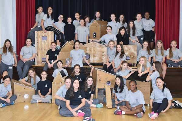 Bishop Strachan School's Grade 7 class built cat shelters