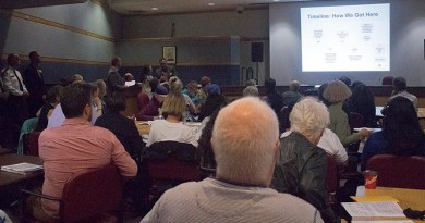 Community discusses new police station location.