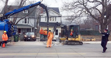 hydro pole being replaced