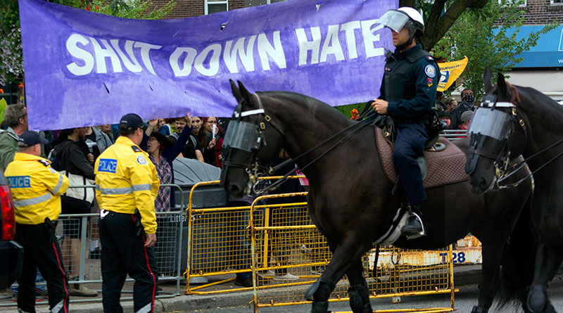 One of two protests on Danforth