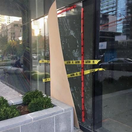 Building door hit by vandalism