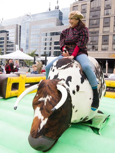 Mechanical bull at country fair