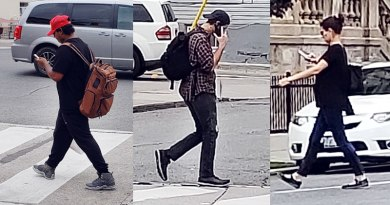 Pedestrians using phones crossing the street
