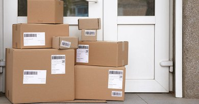 parcels brought by delivery vehicles