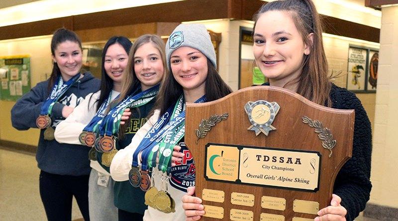 Winning alpine skiing team