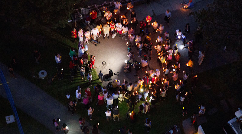650 Parliament St. vigil seen from above