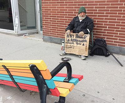 Jim and bench at sidewalk crash site