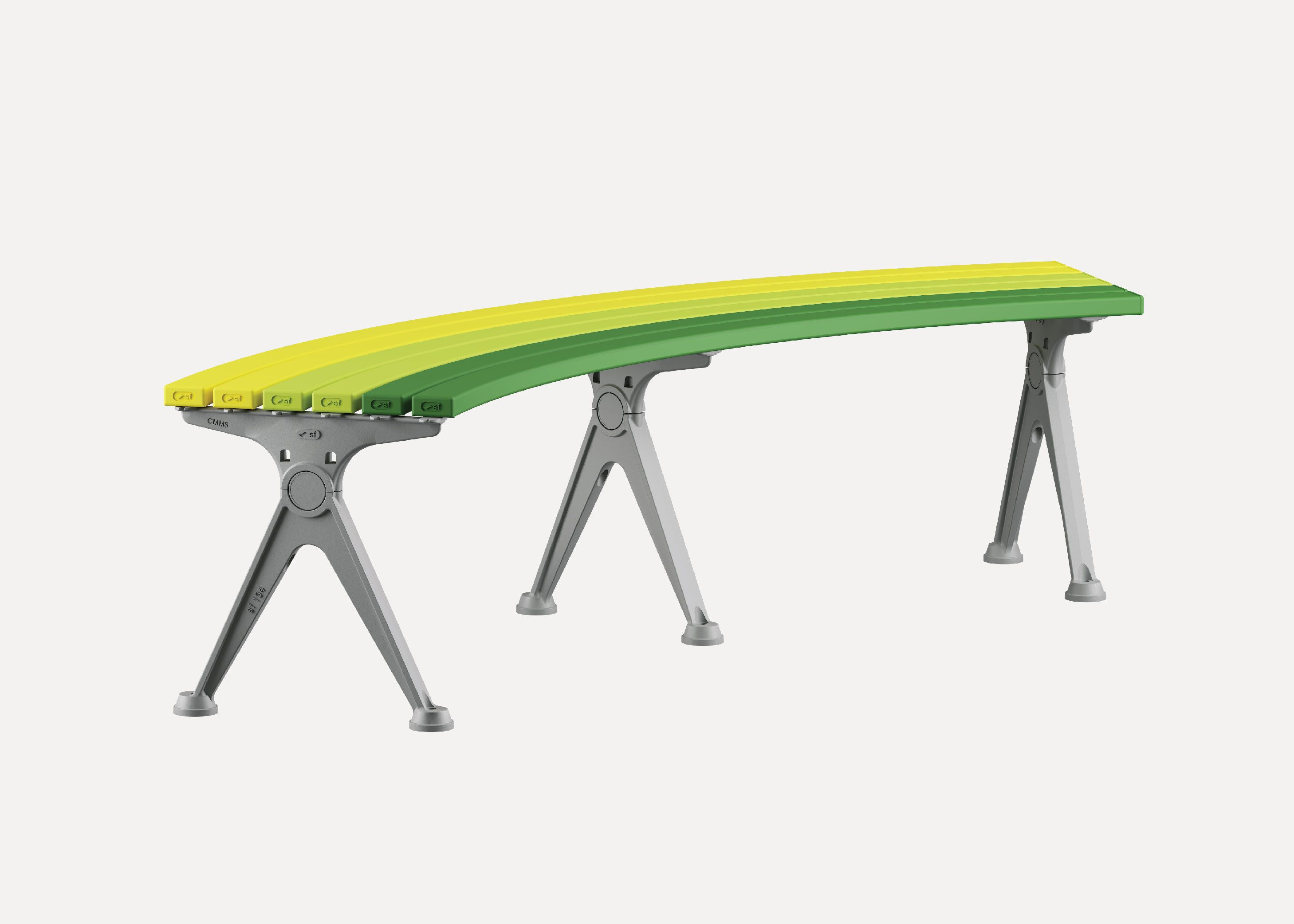 Mall Curved Slim Bench Street Furniture Australia