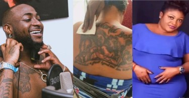 """""""Is She Barren"""" – Reactions As Lady Tattoos Davido And All His Children's Faces On Her Back (VIDEO)"""