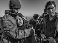 I love this image. This mother broke into tears as soon as she set foot on dry land. Her two sons were at her side and comforted her.
