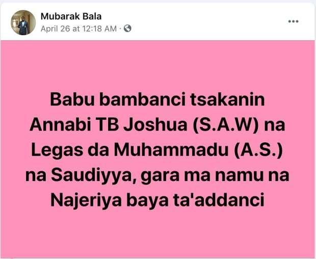 Mubarak Bala Insulted TB Joshua April 26