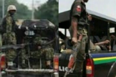 Nigerian Security Forces Army soldiers and Police Patrol