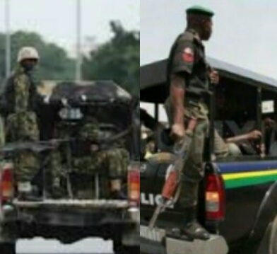 Nigerian Security Forces Army and Police Patrol