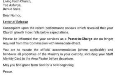 Winners Chapel Sack Letter