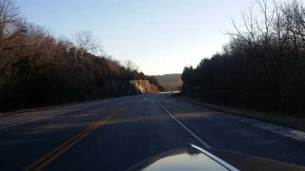 The view leaving Springfield.  Notice, still some ice on the shoulder of the road from 2 days ago!