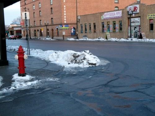Snow on a corner.