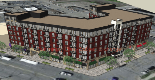 7-story development planned at the former site of Totino's and some neighboring parking lots.