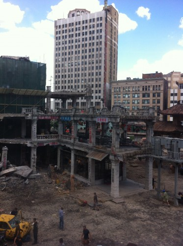 The view of the Transformers 4 set from the Detroit People Mover.