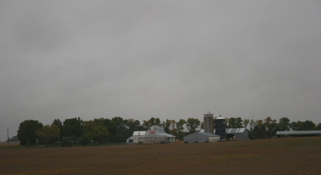A cheery smile on a barn off U.S. Highway 14 driving toward Lamberton lifts the gloom of a rainy Saturday morning.