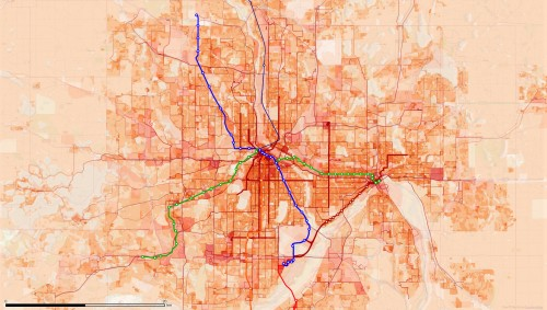 Some of the proposed and existing transit lines in the Twin Cities overlaid on a map of population and employment density.