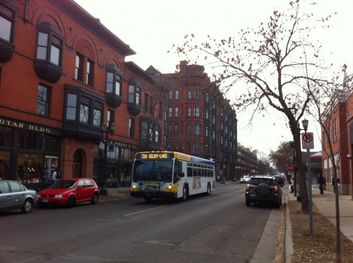On Selby Avenue with Victorian buildings on the left