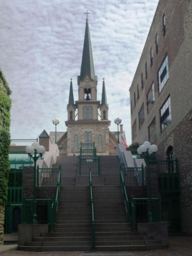 Staircase leading down from Our Lady of Lourdes church in Minneapolis