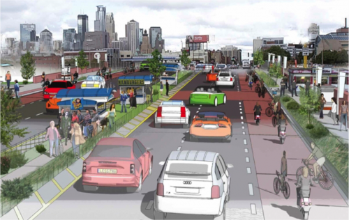 Source - Downtown 2025 Plan. This specific rendition probably wont happen, since it blocks all access to I-35W. Good imagination, though.
