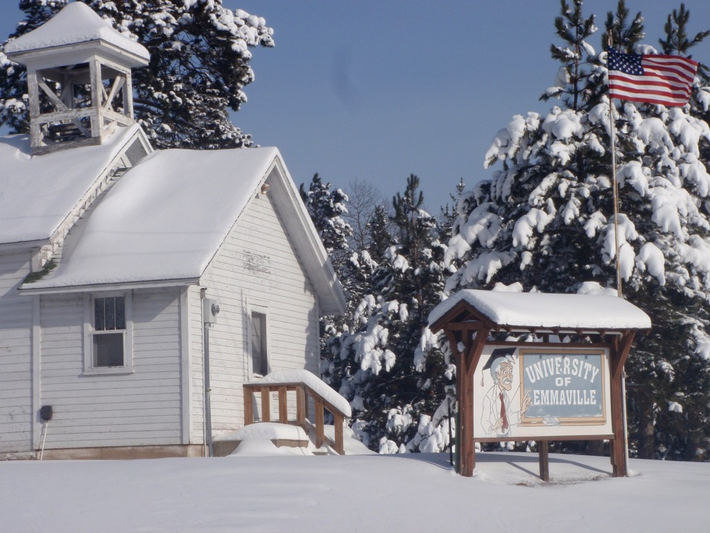 Mike emailed this bonus photo from Emmaville of the 1907 schoolhouse, labeled by previous owner Cal Jensen as the University of Emmaville. Jensen was a colorful character, Mike says, who posted several witty signs to attract tourists. Today the old schoolhouse is owned and used by two brothers as a hunting cabin.