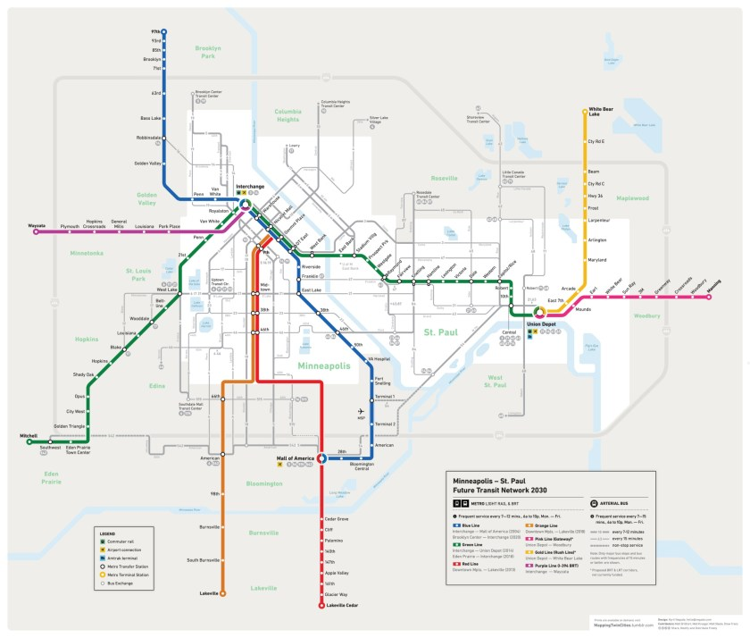 Twin Cities Future Transit Map by Kyril Negoda