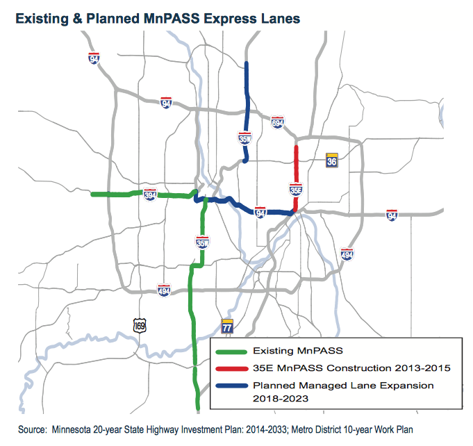 Existing and Planned MnPASS Express Lanes