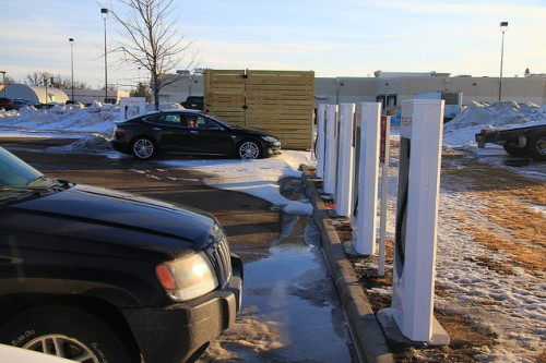 A Model S charging in Worthington, MN.