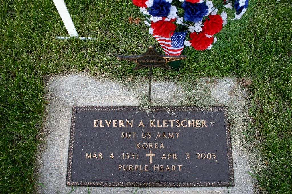 A military marker at the Vesta City Cemetery honors my father, a Korean War vterans.