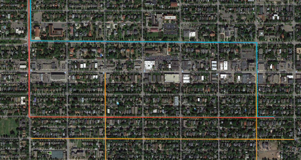 Red line is a typical route, Blue line is a better route with less impact on the neighborhood.