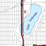 Proposed freeway as mapped by Adam Froehlig.  Click to see his full map and history.