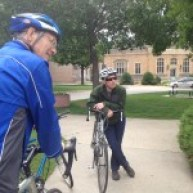 MnDOT rep leads some discussion in front of Northfield Post Office