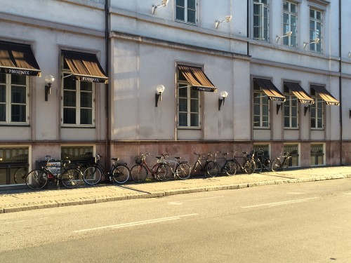 Typical bicycle parking in downtown