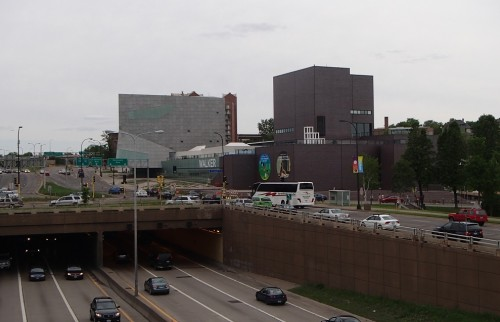 Walker Art Museum, from the Irene Hixon Whitney Bridge over the Hennepin/Lyndale bottleneck
