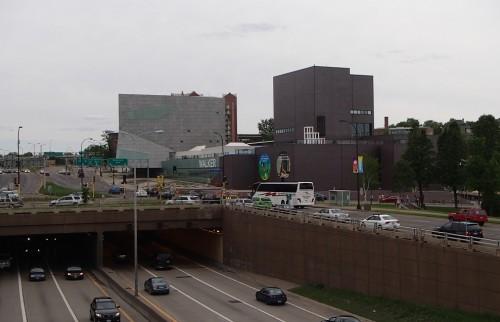 Walker Art Museum, from the Irene Hixon Whitney Bridge over the Hennepin/Lyndale bottleneck