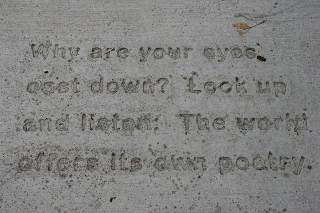 Word art (poetry) is imprinted upon sidewalks in downtown Northfield.