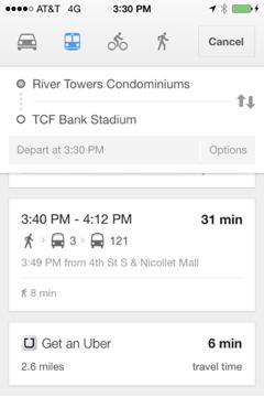 Uber as Transit Option